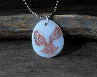 Flying Owl - fused glass pendant