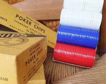 Vintage Poker Chips Vtg Games New in Box Set of 300 Poker Chips Red White Blue Poker Chips Styrene Inter-lock Poker Chips Standard Poker
