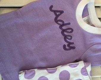 Personalized Purple Girls Summer Short Sleeve Spring Pajama Sets Choose Applique