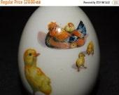 Valentines Day Sale Vintage Royal Bayreuth 1974 Porcelain Easter Egg Baby Chicks, Rooster, Easter Basket Egg, Porcelain Egg, Collector Egg