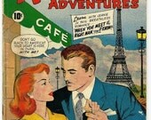Valentines Day Sale 1959 Romantic Adventures Romance Comic Book, Valentine, Romance, Paris, France, Eiffel Tower French, Sweetheart, Love, P