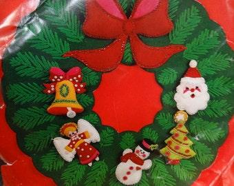 Vintage Bucilla Jeweled Felt Applique Christmas Wreath. Titled Jeweled Wreath # 3396, Christmas Wreath, Front Door Decoration