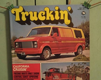Truckin Magazine July 1977 California Cruising Customized Pickup Trucks Conversion Vans Jeep J-10 4x4 Golden Eagle Chevy Ford Dodge