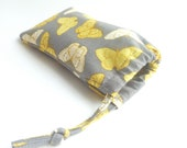butterfly glasses pouch. cute grey yellow gold padded butterflies sunglasses case for women. small gift. teacher gift
