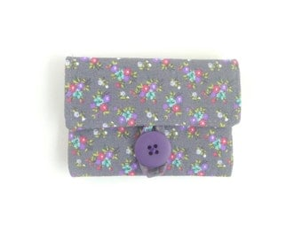 grey credit card case. pink floral fabric women card holder. slate cloth business card holder. small gift