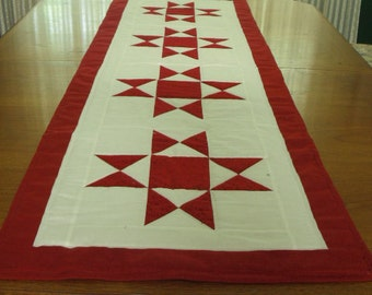 Quilted Table Runner/ Bed Runner- Red Ohio Star