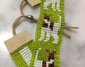 Handmade Loomed Bead Bracelet - Dog / Terrier Design