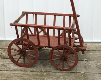 Antique Goat Cart Original Red Paint 1800's Vintage