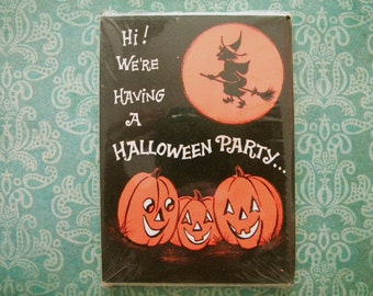 Vintage Unopened Package of 8 Halloween Party Invitations