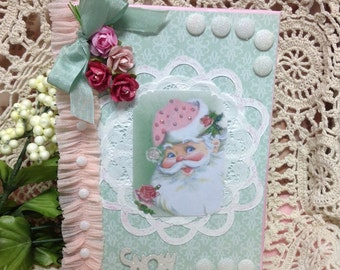 Handmade Altered Christmas Journal Pink Santa Notebook