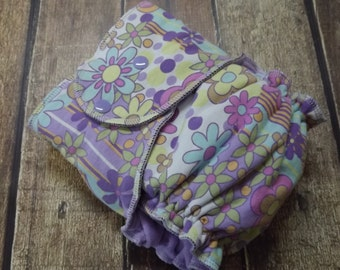 One Size Hybrid Fitted Cloth Diaper Windpro Pretty Floral RTS