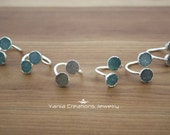 AAA Natural Druzy Dual Stone Adjustable Rings- Sterling Silver ( 5 available colors)