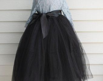 Girls Black Long Sewn Tulle Skirt,  Black Tutu, Toddler Tulle skirt, Girls Tutu, Flower girl dress, long tulle skirt