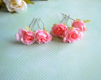 Set of 5 Pink Rose Hair Pins, Bridal Hair Pin, Pink Wedding, Pink flower hair clip, Rose hair pin, Bobby pins, Bridal Hair accessories