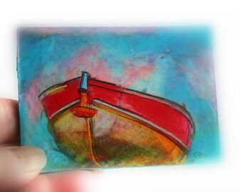 Arrival, the red boat, aceo Original, mixed media photograph, #Lake house decor, blue decor, wall art, #boats #Fishing #aceo originals