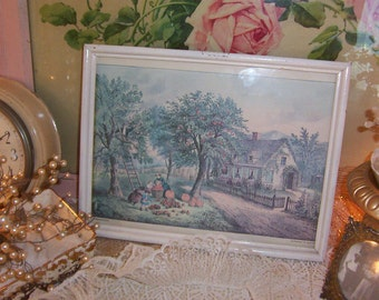pretty little cottage scene in autumn, vintage fall framed currier & ives print, soft, muted pastel colors, apples and pumpkins, chic