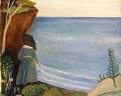 Overlook, art print, wall decor, folklore, folk art, ocean, sea