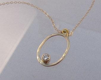 14k Gold Diamond Oval Necklace - Ready to Ship