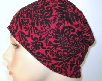 FREE SHIP USA Red and Black Stretch Knit Pillbox, Chemo Hat, Cancer Turban, Womens Hat Alopecia
