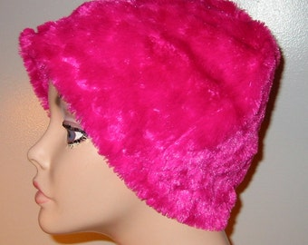 Kids Child  Cancer, Chemo Hat, Raspberry Furry  Comfort Hat, Alopecia, Turban