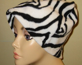 FREE SHIP USA Zebra Cancer  Anti Pill Fleece Hat, Winter Hat, Cancer, Chemo Hat, Alopecia