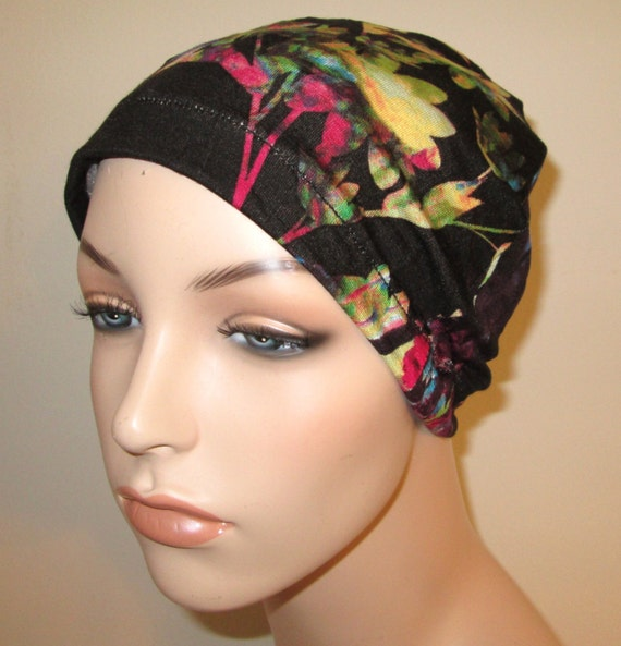 Chemo Hat Lycra  Black Floral Print  Play Sleep Cap, Cancer Hat, Alopecia Kids and Adult Chemo Hat