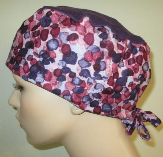 Scrub Cap Purple and Cranberry Print   OR Cap Nurses Cap Surgical Cap Free Ship USA Adjustable  Chemo Hat