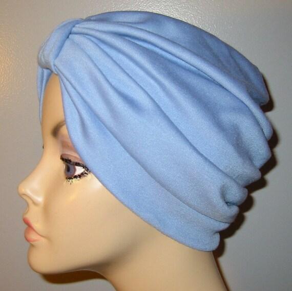 Medium Blue Stretch  Knit Turban, Chemo Hat, Snood,  Alopecia Yoga Cancer