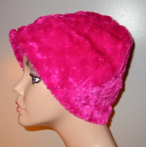 Kids Child  Cancer, Chemo Hat, Raspberry Furry  Comfort Hat, Alopecia, Turban