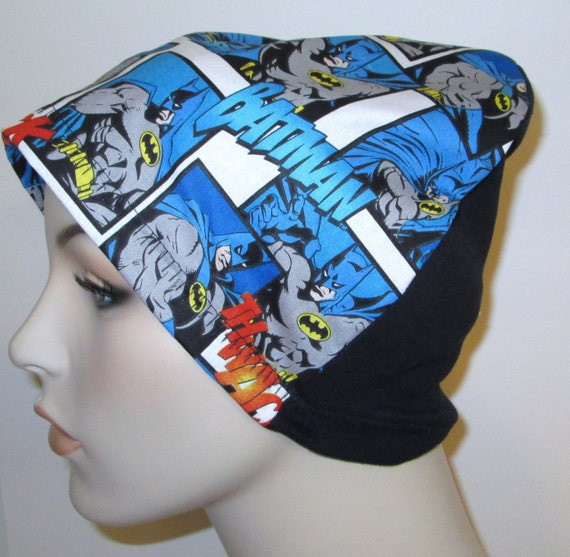 Batman Print  Lightweight  Hat -Chemo, Cancer, Alopecia, Sleep Cap, Child or Adult