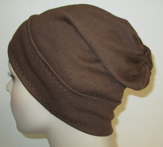 Brown Slouch Chemo Cap, Cancer Hat, Alopecia, Modest Hat,