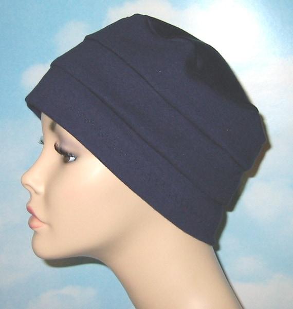 3-Band Navy Stretch Knit Chemo Hat, Hijab, Alopecia Cap, Cancer Hat, Alopecia, Yoga Hat