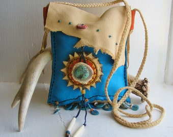 HEADED WEST 2 pocket Navajo deerskin leather purse, shoulder bag, cowgirl southwest equine, Santa Fe style