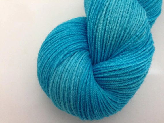 Bright Turquoise - Dyed to Order - Hand Dyed - Merino Wool Yarn - Fingering Weight