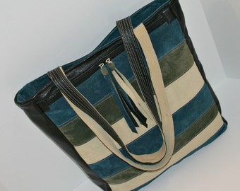 Recycled Black Leather and Multi Suede Tote in Shades of Off White, Olive Green and Turquoise