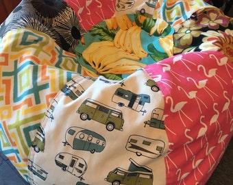 UNFILLED Kitsch Prints multi bean bag with VW pop top camper vans tropical flowers, turtles, bananas, pink flamingos and geometric prints