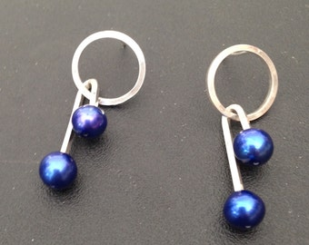 Sterling Silver round atomic age retro earrings with Royal Blue Pearls
