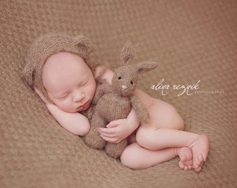 Newborn Photo Prop Knit Bunny, hand knitted bunny rabbit stuffed toy