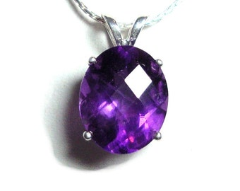Amethyst sterling pendant with chain