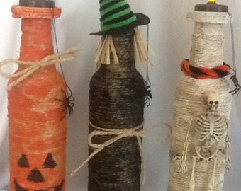 HALLOWEEN TRIO with spiders, skeleton, witch ~ Jute WRAPPED Aluminum Beer Bottles