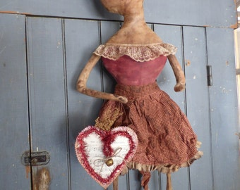 Handmade Primitive Folk Art Doll With Heart Music