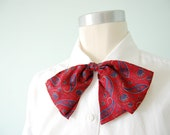 vintage 1980s  / red silk bow tie / over size  / womens bow tie / collar clip / paisley pussy bow