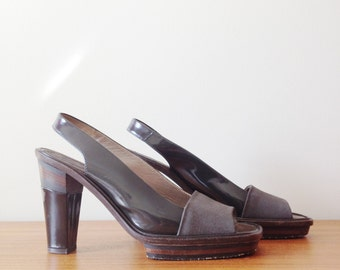 vintage 1990s /Marni / sling back / platform heels / dark brown and grey / leather / suede / minimalist / size 38 / 8US