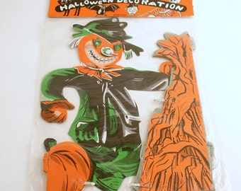 vintage halloween decoration honeycomb pumpkin scarecrow corn stalks original package - Halloween Corn Stalks