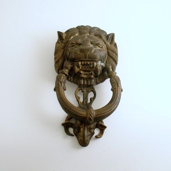 Vintage door knocker large metal lions head - Large lion head door knocker ...