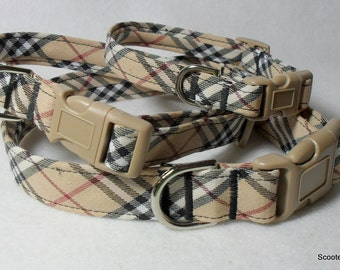 Handcrafted Tan & Black Plaid Fabric Dog Collar-Great Classic Look- All Sizes- Free Shipping