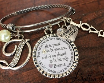 Mother of the GROOM, Mother of the Bride Gift, PERSONALIZED wedding, Initial jewelry, BANGLE bracelet, Mother in law gift, Today a groom,