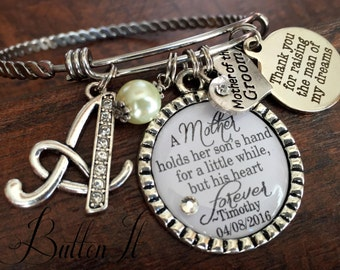 Mother of the GROOM, Mother of the Bride Gift, PERSONALIZED wedding, Initial jewelry, BANGLE bracelet, Mother in law gift
