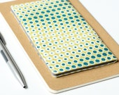 SALE - Checkbook Cover. Geometric Print. Blue and Green. Slip Wallet