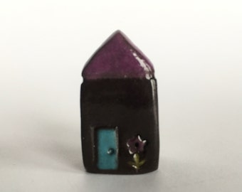 Little Flower House Collectible Ceramic Miniature Black Clay House